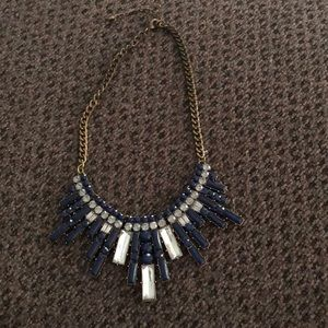 LOFT blue and silver statement necklace